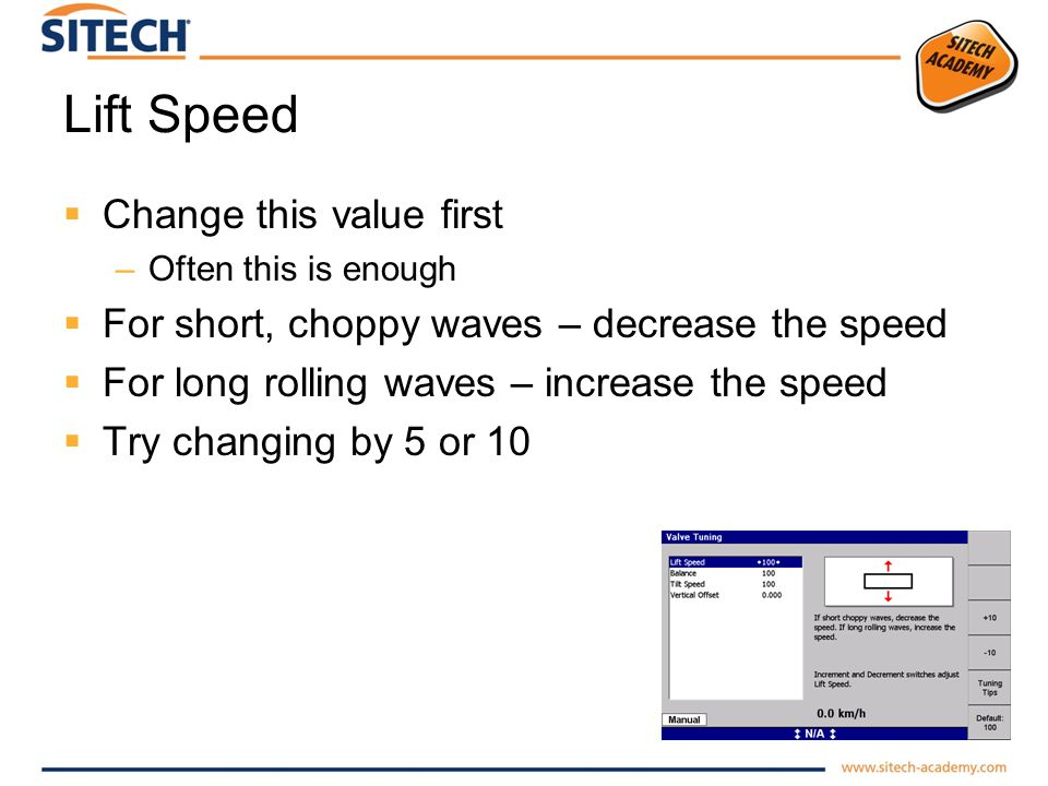 Lift Speed Change this value first –Often this is enough For short, choppy waves – decrease the speed For long rolling waves – increase the speed Try