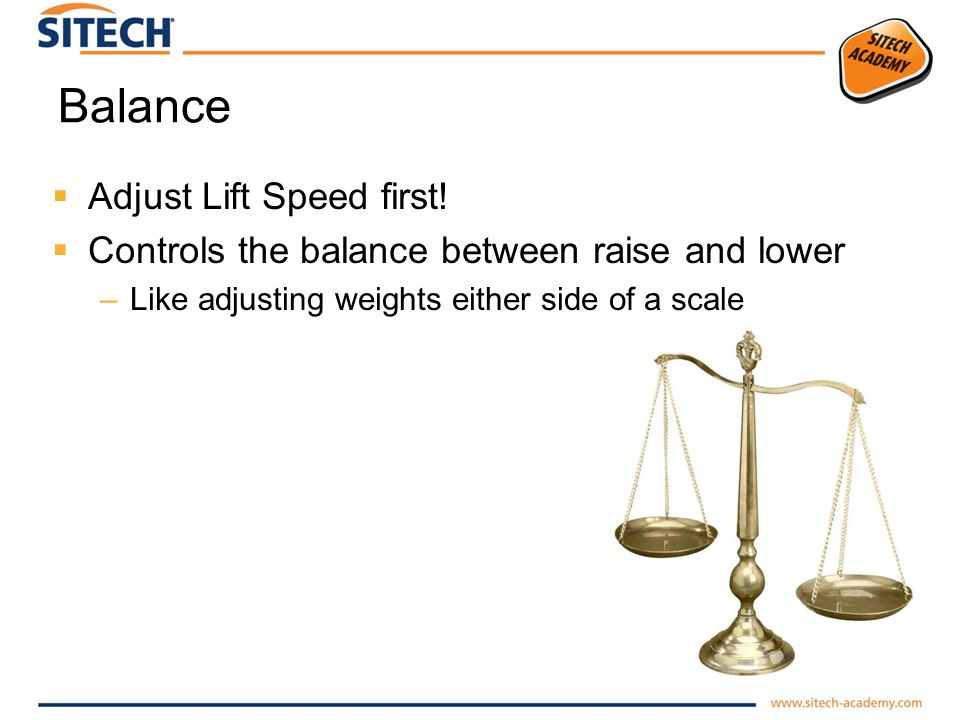 Balance Adjust Lift Speed first! Controls the balance between raise and lower –Like adjusting weights either side of a scale
