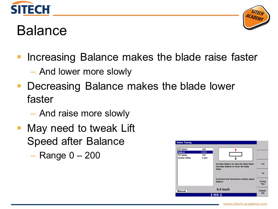 Balance Increasing Balance makes the blade raise faster –And lower more slowly Decreasing Balance makes the blade lower faster –And raise more slowly