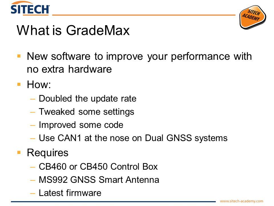 What is GradeMax New software to improve your performance with no extra hardware How: –Doubled the update rate –Tweaked some settings –Improved some c