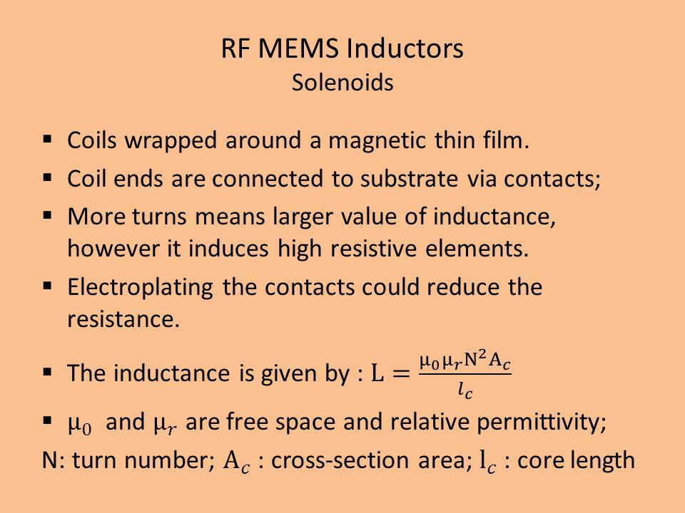 RF MEMS Inductors Solenoids