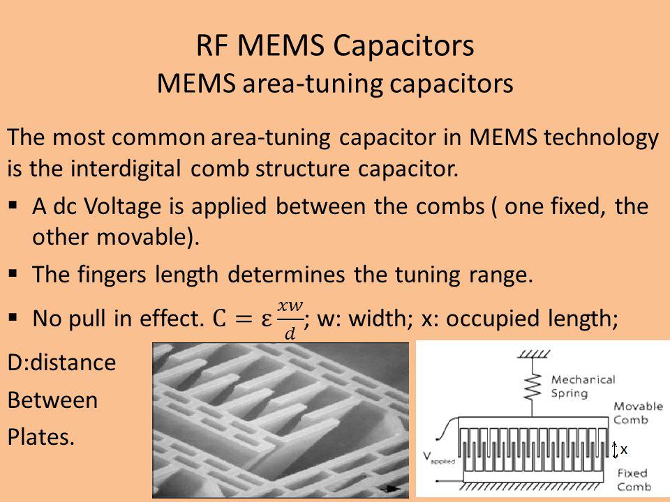 RF MEMS Capacitors MEMS area-tuning capacitors