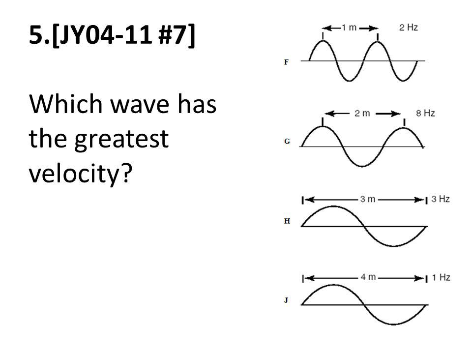 5.[JY04-11 #7] Which wave has the greatest velocity?