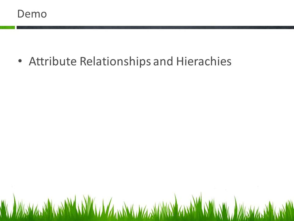 Demo Attribute Relationships and Hierachies