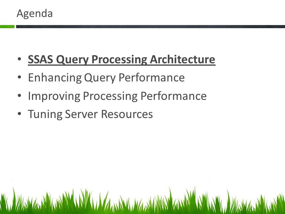 Agenda SSAS Query Processing Architecture Enhancing Query Performance Improving Processing Performance Tuning Server Resources