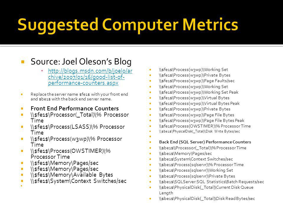 Source: Joel Olesons Blog http://blogs.msdn.com/b/joelo/ar chive/2007/01/16/good-list-of- performance-counters.aspx http://blogs.msdn.com/b/joelo/ar c