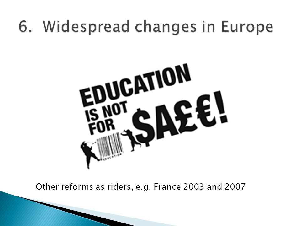 Other reforms as riders, e.g. France 2003 and 2007