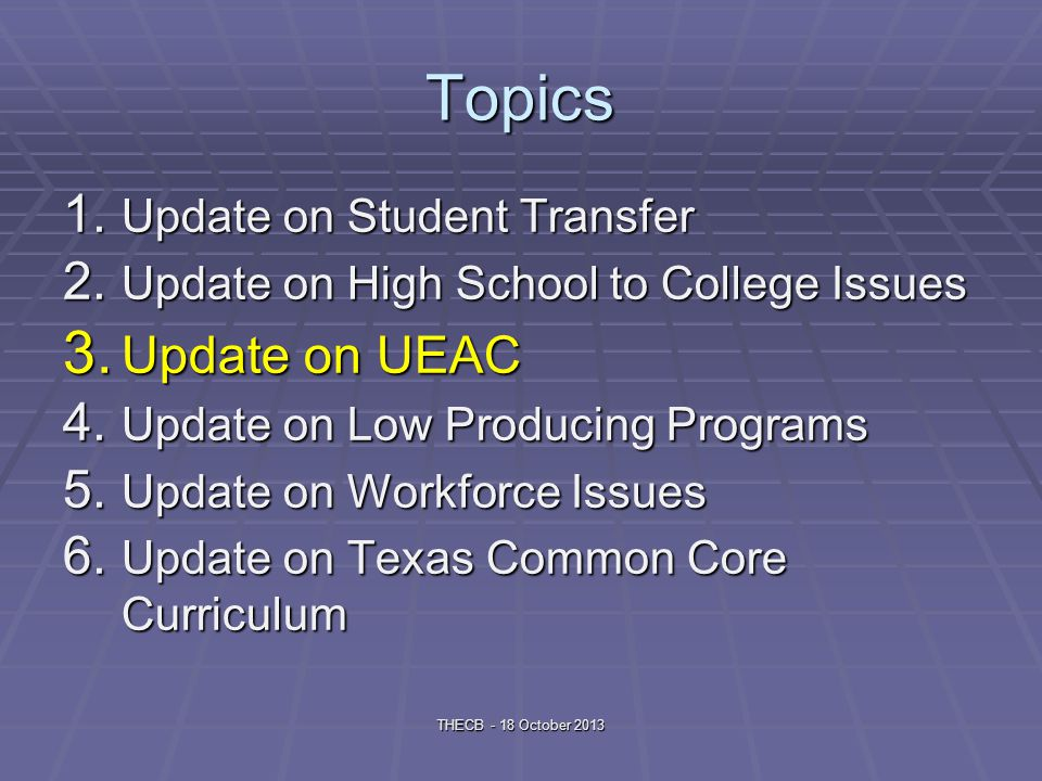 Topics 1. Update on Student Transfer 2. Update on High School to College Issues 3.