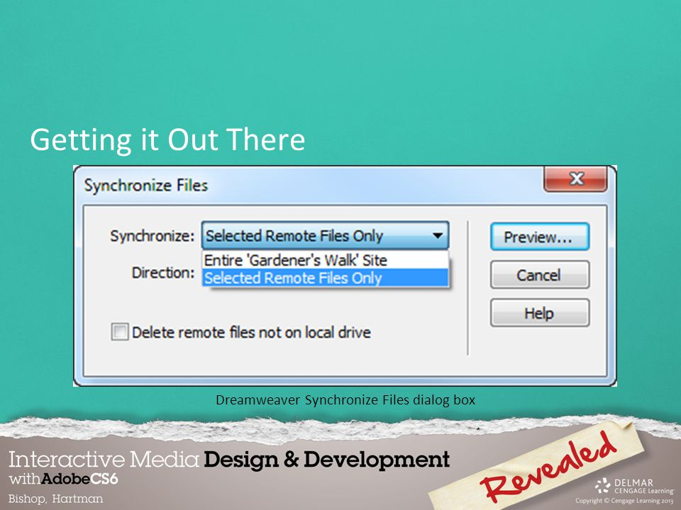 Dreamweaver Synchronize Files dialog box