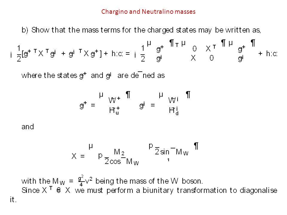 Chargino and Neutralino masses