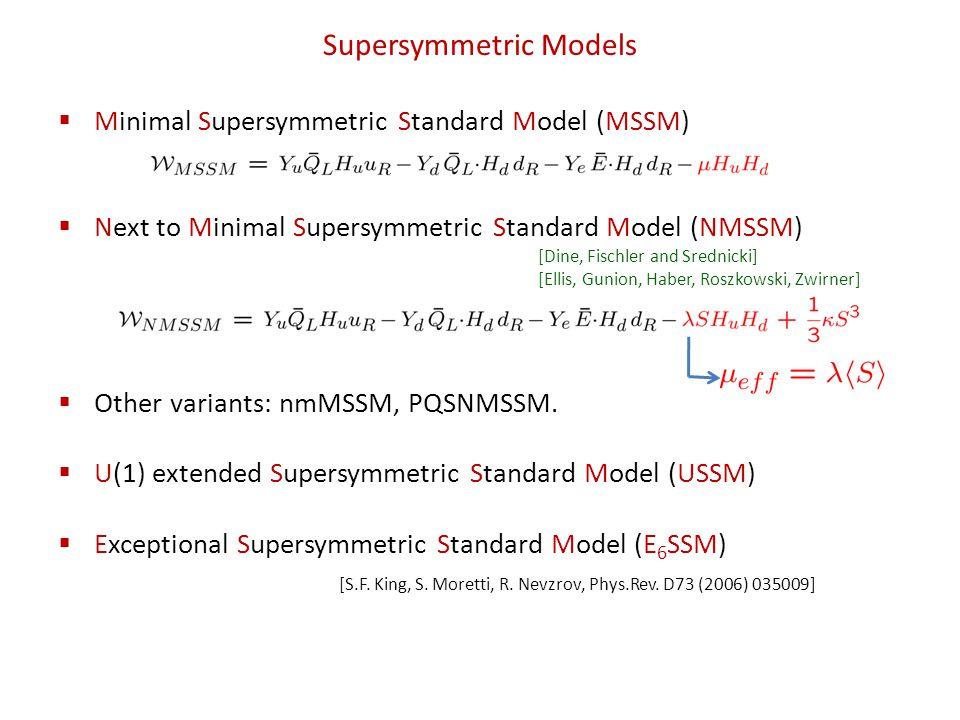 Supersymmetric Models Minimal Supersymmetric Standard Model (MSSM) Next to Minimal Supersymmetric Standard Model (NMSSM) Other variants: nmMSSM, PQSNMSSM.