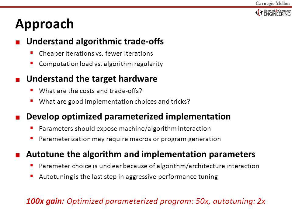 Carnegie Mellon Autotuning: Iterative Line Search Parameter 1 Parameter 2 Parameter 3 Iterative Line search Search parameters one by one hold others fixed Multiple refinement iterations Search space is well-behaved Heuristics Cut search space For instance: DAG scheduling