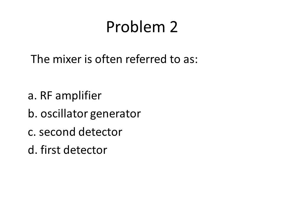 Problem 34 An autodyne mixer is: a.