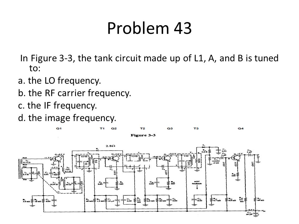 Problem 43 In Figure 3-3, the tank circuit made up of L1, A, and B is tuned to: a. the LO frequency. b. the RF carrier frequency. c. the IF frequency.