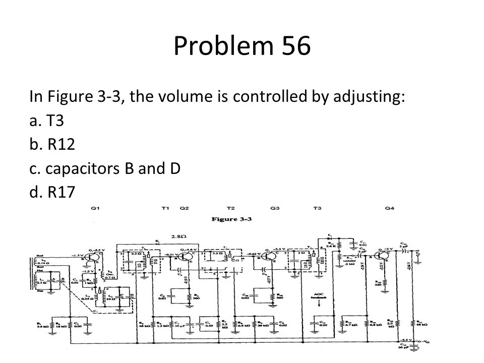 Problem 56 In Figure 3-3, the volume is controlled by adjusting: a. T3 b. R12 c. capacitors B and D d. R17