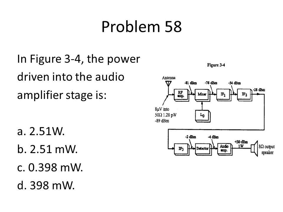 Problem 58 In Figure 3-4, the power driven into the audio amplifier stage is: a. 2.51W. b. 2.51 mW. c. 0.398 mW. d. 398 mW.