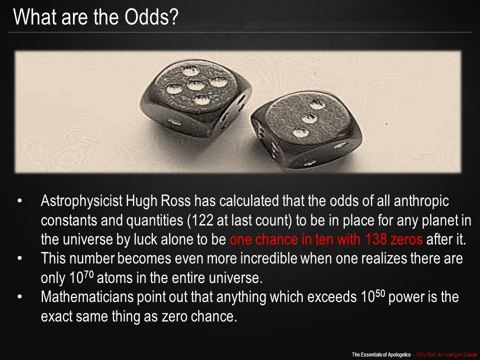 The Essentials of Apologetics – Why God: An Intelligent Cause What are the Odds.