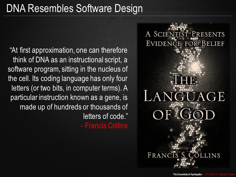 The Essentials of Apologetics – Why God: An Intelligent Cause DNA Resembles Software Design At first approximation, one can therefore think of DNA as an instructional script, a software program, sitting in the nucleus of the cell.