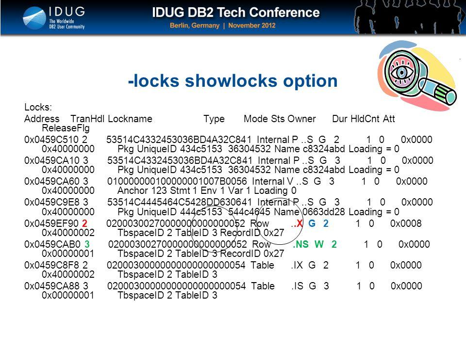 Click to edit Master title style -locks showlocks option Locks: Address TranHdl Lockname Type Mode Sts Owner Dur HldCnt Att ReleaseFlg 0x0459C510 2 53