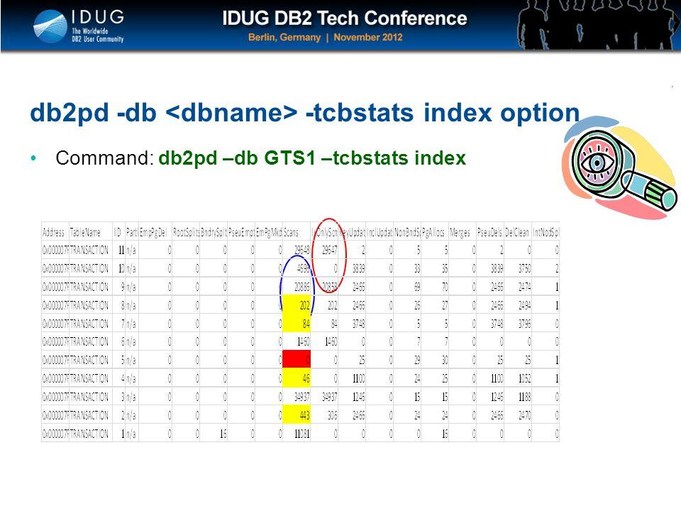 Click to edit Master title style db2pd -db -tcbstats index option Command: db2pd –db GTS1 –tcbstats index