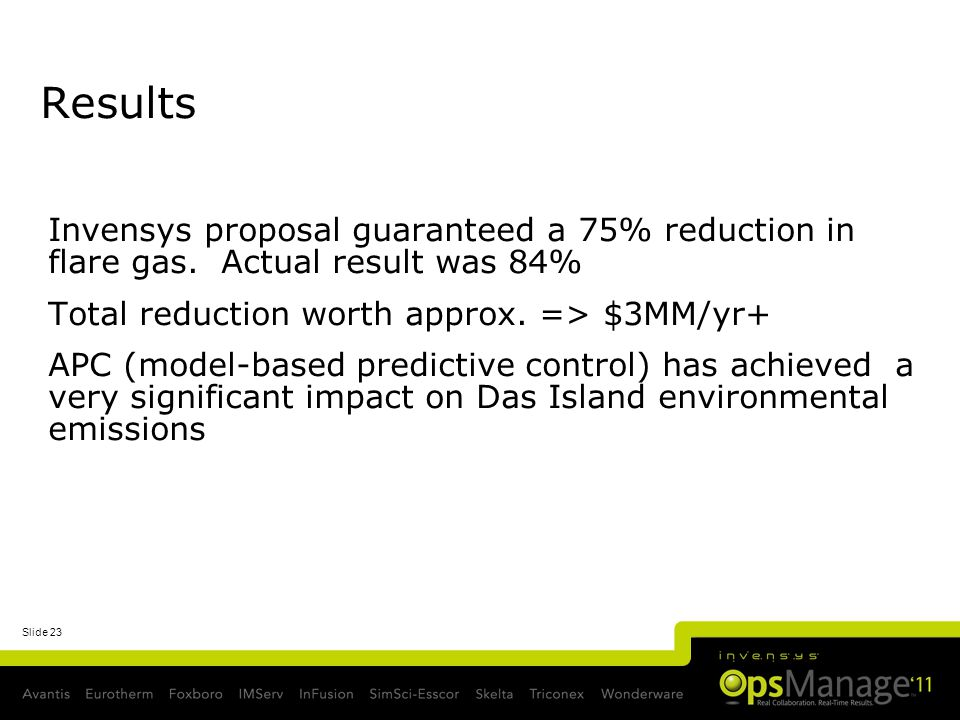 Slide 23 Results Invensys proposal guaranteed a 75% reduction in flare gas. Actual result was 84% Total reduction worth approx. => $3MM/yr+ APC (model