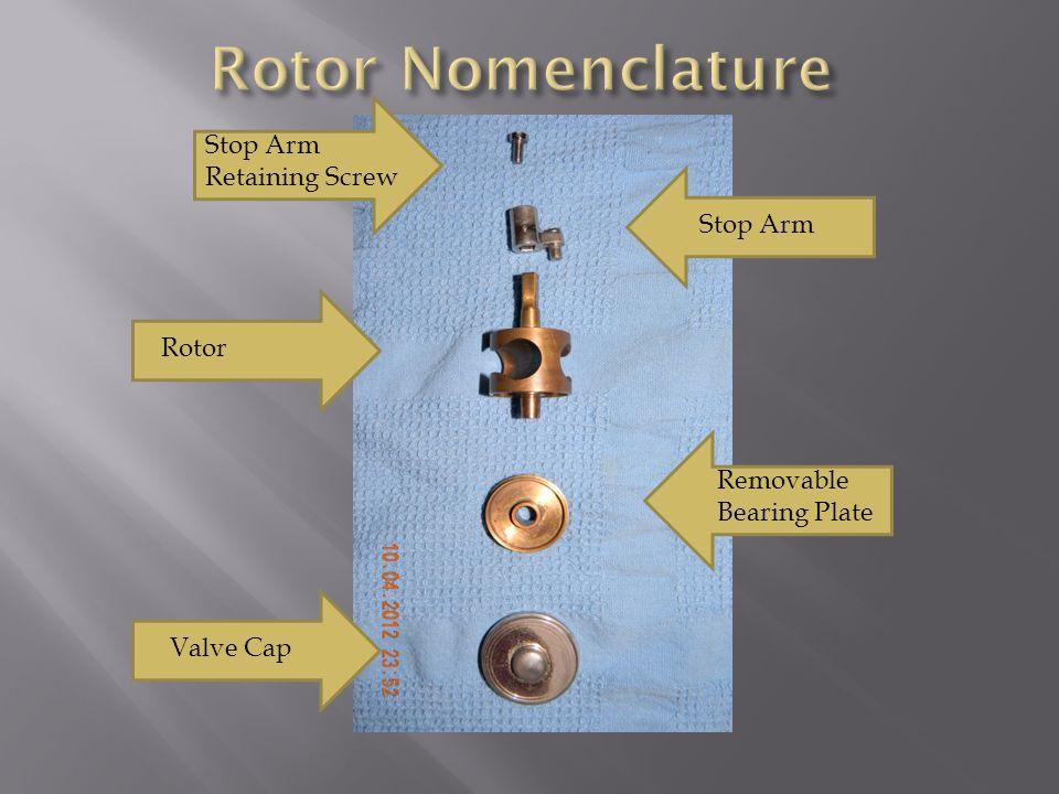 Stop Arm Retaining Screw Stop Arm Rotor Removable Bearing Plate Valve Cap