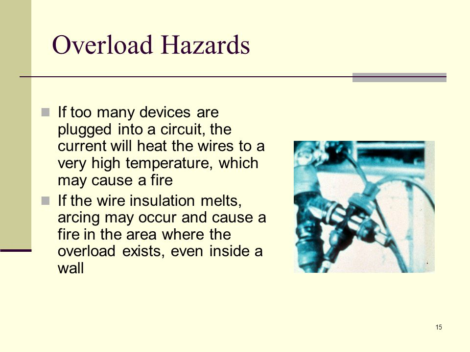15 Overload Hazards If too many devices are plugged into a circuit, the current will heat the wires to a very high temperature, which may cause a fire If the wire insulation melts, arcing may occur and cause a fire in the area where the overload exists, even inside a wall