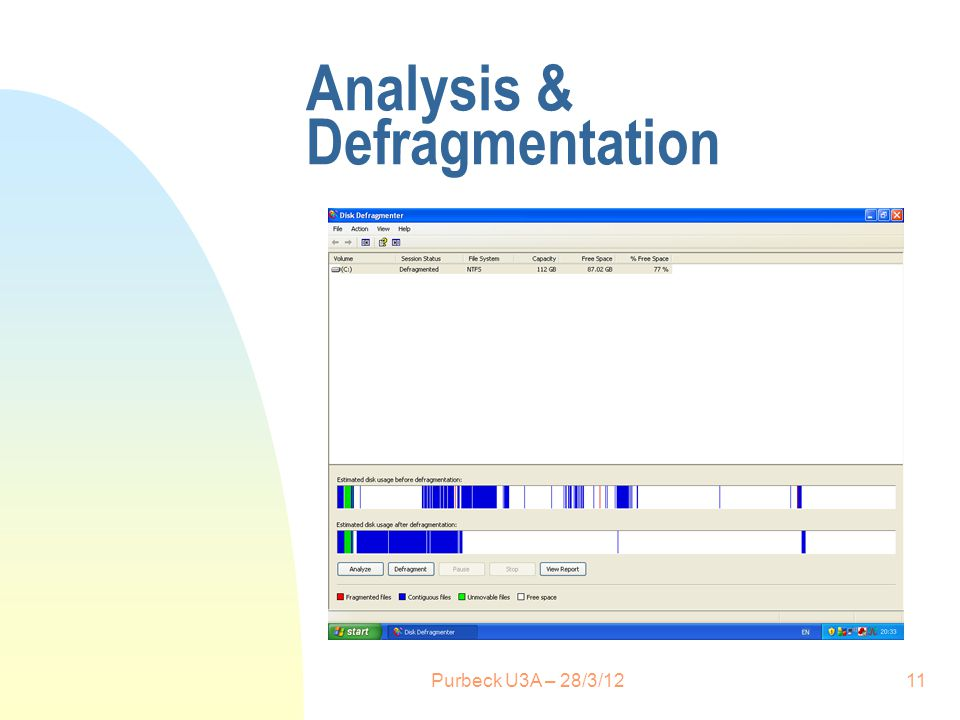 Analysis & Defragmentation 11Purbeck U3A – 28/3/12