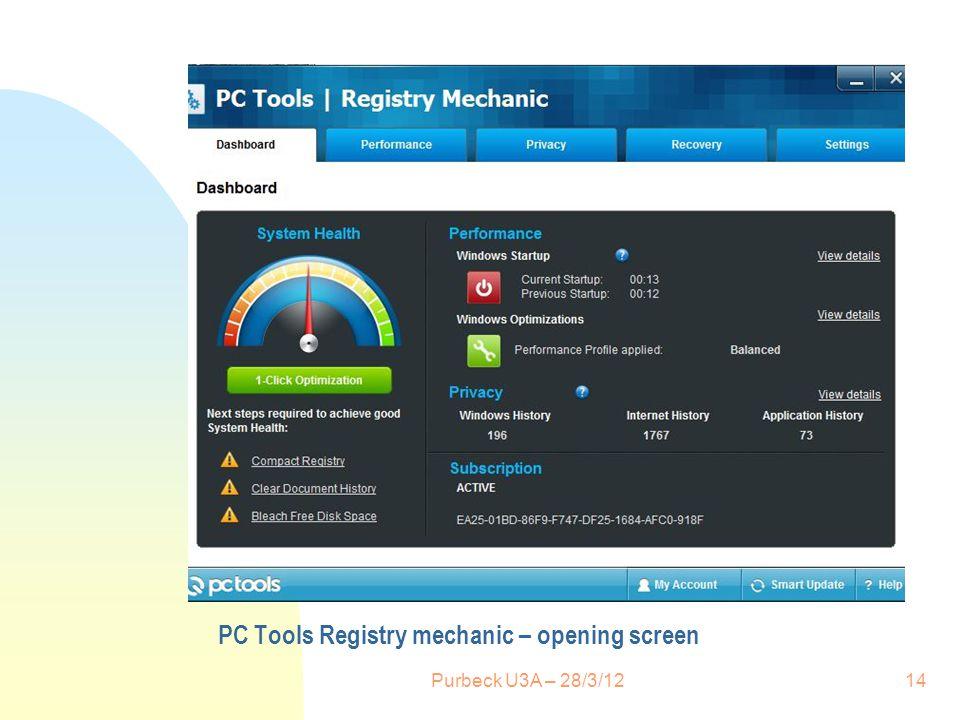 PC Tools Registry mechanic – opening screen Purbeck U3A – 28/3/1214