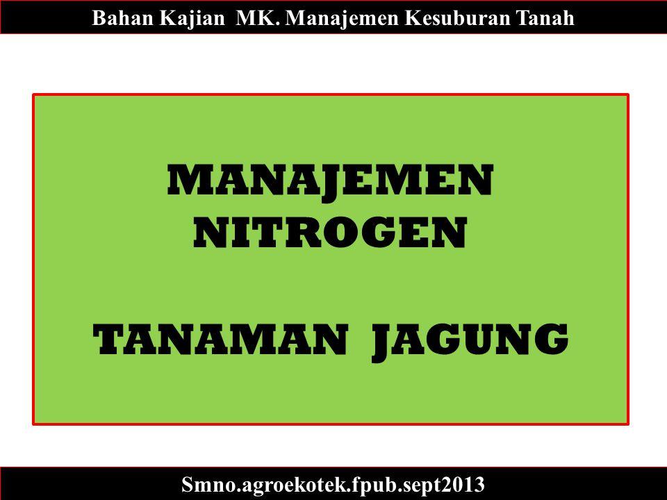 MANAJEMEN NITROGEN TANAMAN JAGUNG Bahan Kajian MK. Manajemen Kesuburan Tanah Smno.agroekotek.fpub.sept2013