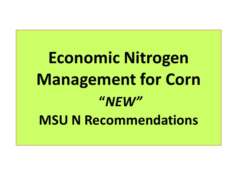 Economic Nitrogen Management for CornNEW MSU N Recommendations