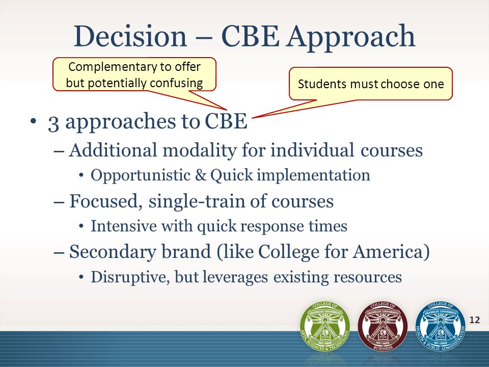 3 approaches to CBE – Additional modality for individual courses Opportunistic & Quick implementation – Focused, single-train of courses Intensive wit