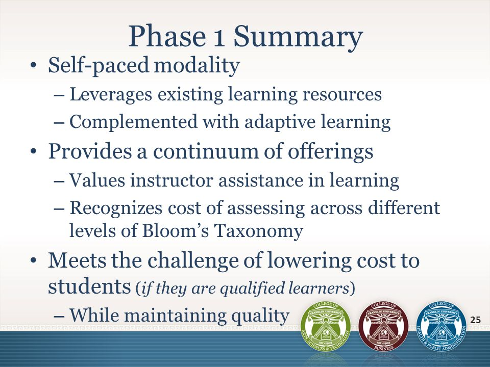 Self-paced modality – Leverages existing learning resources – Complemented with adaptive learning Provides a continuum of offerings – Values instructo