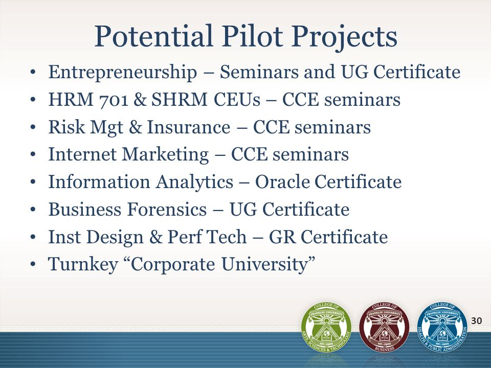 Entrepreneurship – Seminars and UG Certificate HRM 701 & SHRM CEUs – CCE seminars Risk Mgt & Insurance – CCE seminars Internet Marketing – CCE seminar