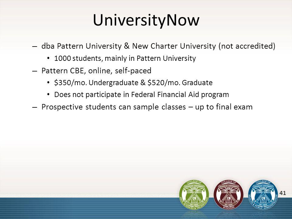 UniversityNow – dba Pattern University & New Charter University (not accredited) 1000 students, mainly in Pattern University – Pattern CBE, online, se