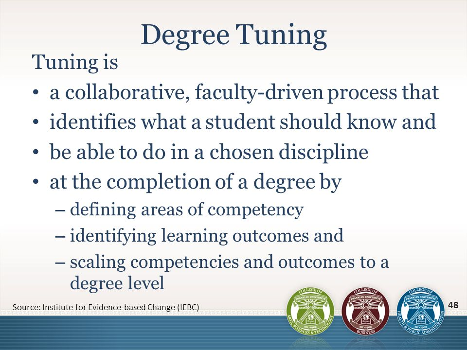 Tuning is a collaborative, faculty-driven process that identifies what a student should know and be able to do in a chosen discipline at the completio