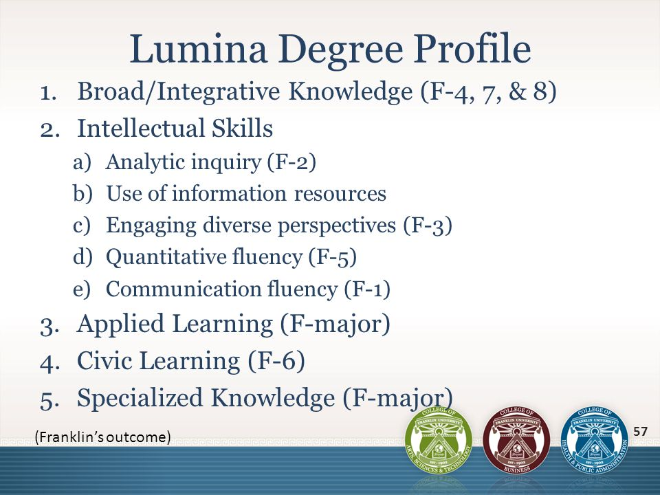 1.Broad/Integrative Knowledge (F-4, 7, & 8) 2.Intellectual Skills a)Analytic inquiry (F-2) b)Use of information resources c)Engaging diverse perspecti