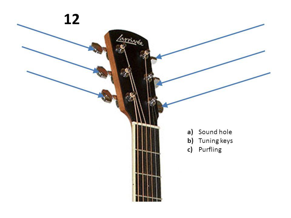 a)Sound hole b)Tuning keys c)Purfling 12