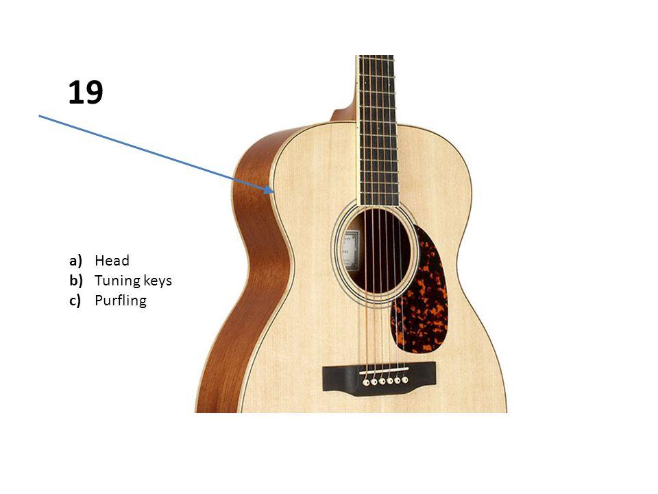 a)Head b)Tuning keys c)Purfling 19