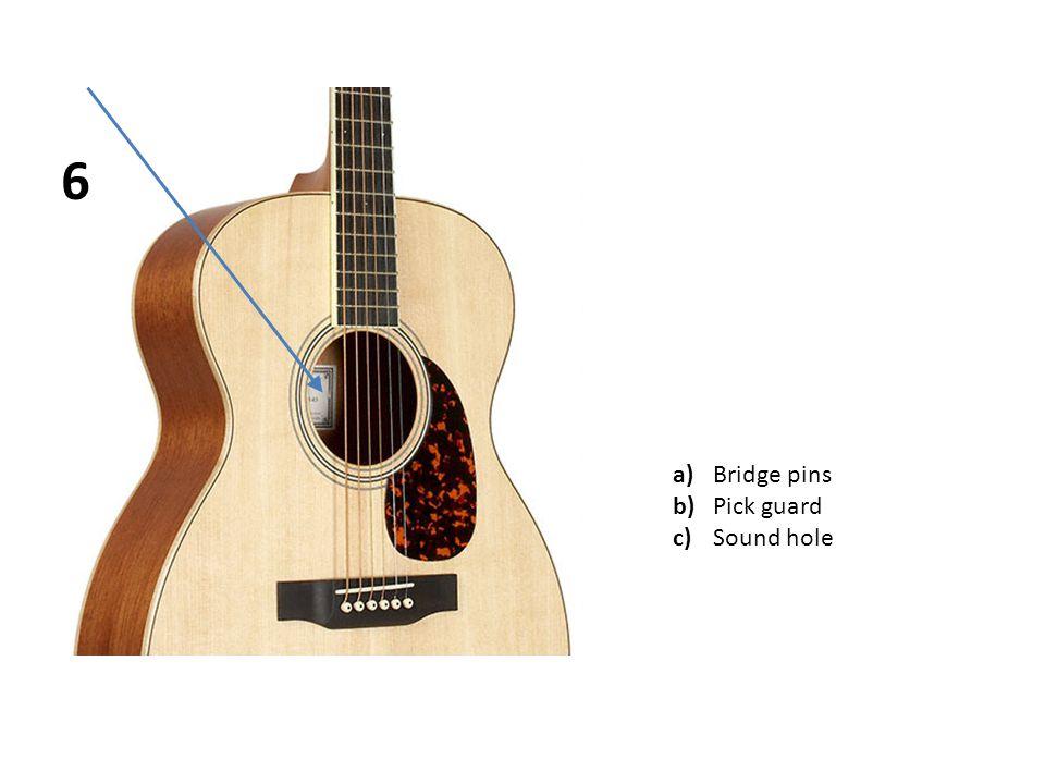 a)Bridge pins b)Pick guard c)Sound hole 6