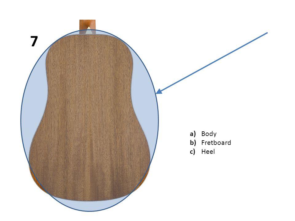 a)Body b)Fretboard c)Heel 7