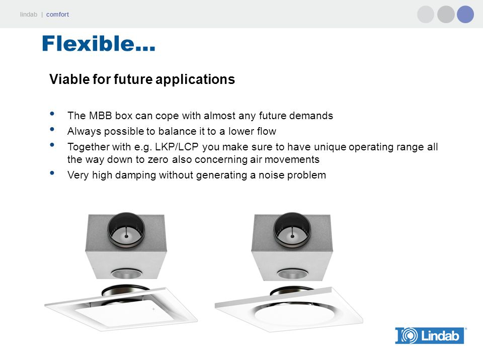 lindab | comfort Flexible... Viable for future applications The MBB box can cope with almost any future demands Always possible to balance it to a low