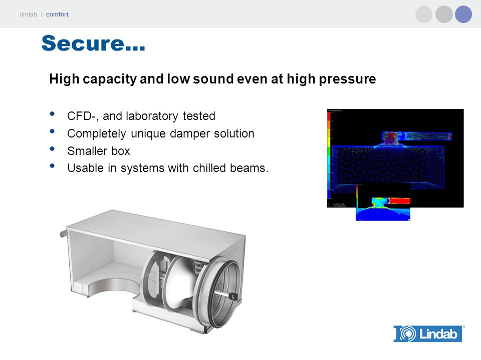 lindab | comfort Secure... High capacity and low sound even at high pressure CFD-, and laboratory tested Completely unique damper solution Smaller box