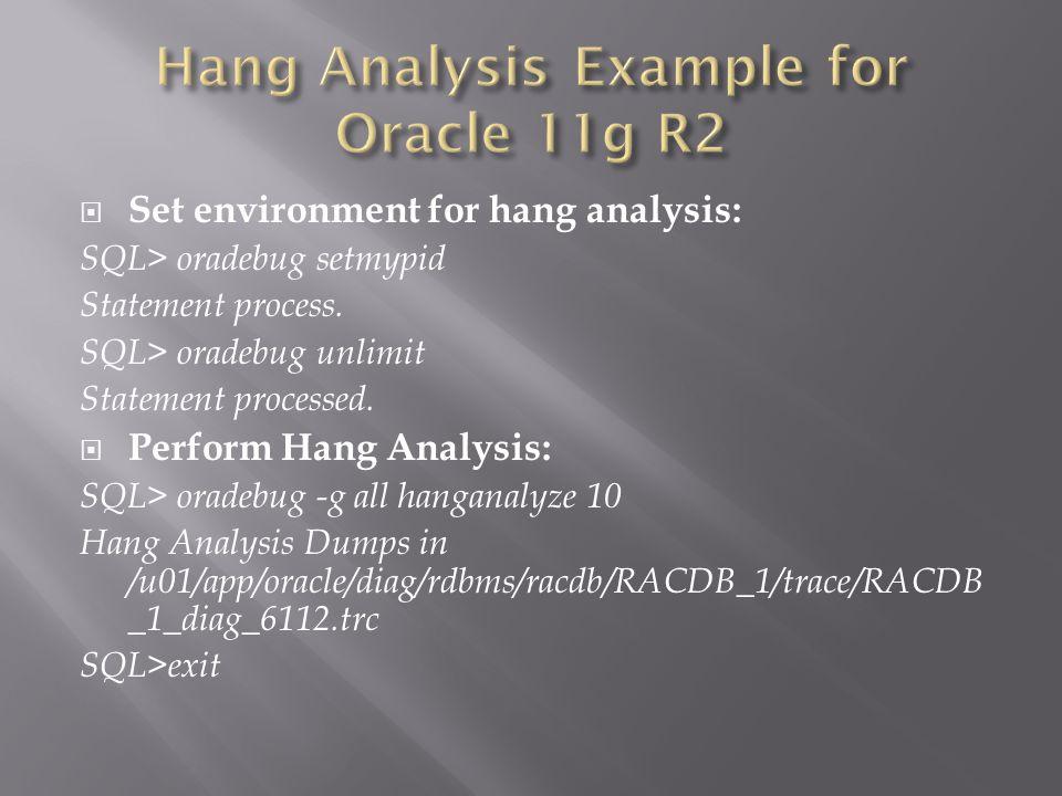 Set environment for hang analysis: SQL> oradebug setmypid Statement process.