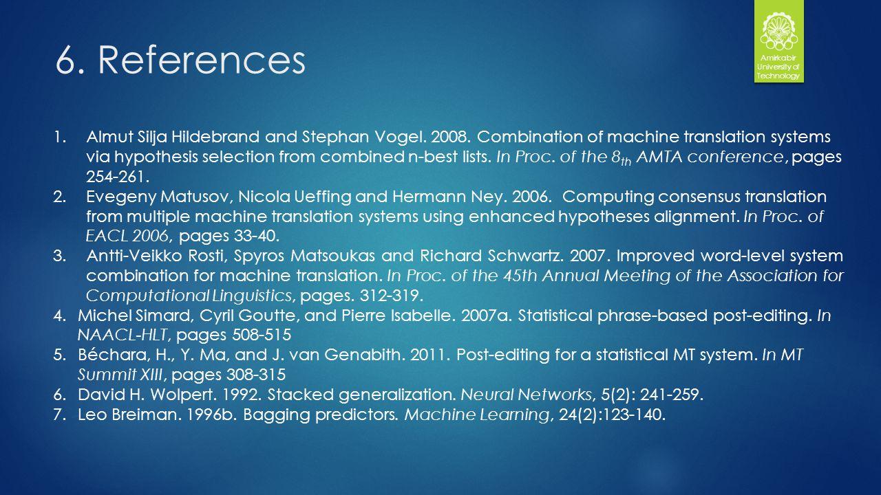 6. References Amirkabir University of Technology 1.Almut Silja Hildebrand and Stephan Vogel.
