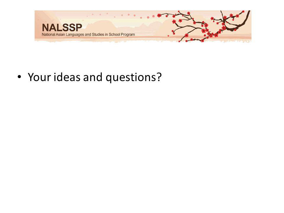 Your ideas and questions?