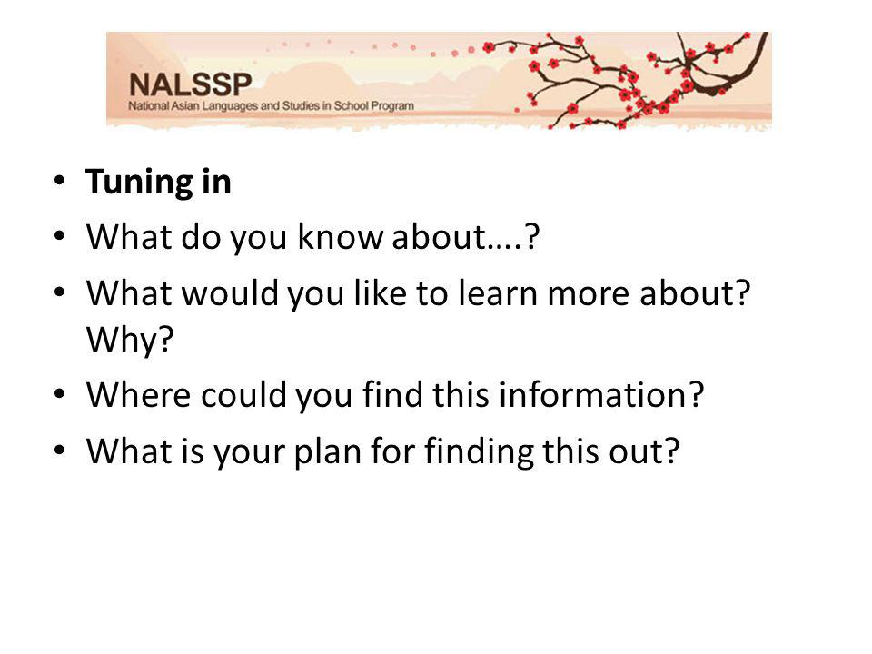 Tuning in What do you know about….. What would you like to learn more about.