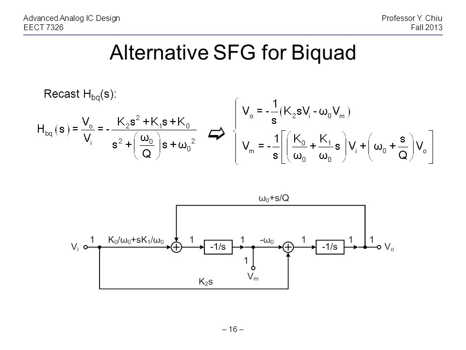 Alternative SFG for Biquad – 16 – Advanced Analog IC DesignProfessor Y. Chiu EECT 7326Fall 2013 Recast H bq (s):