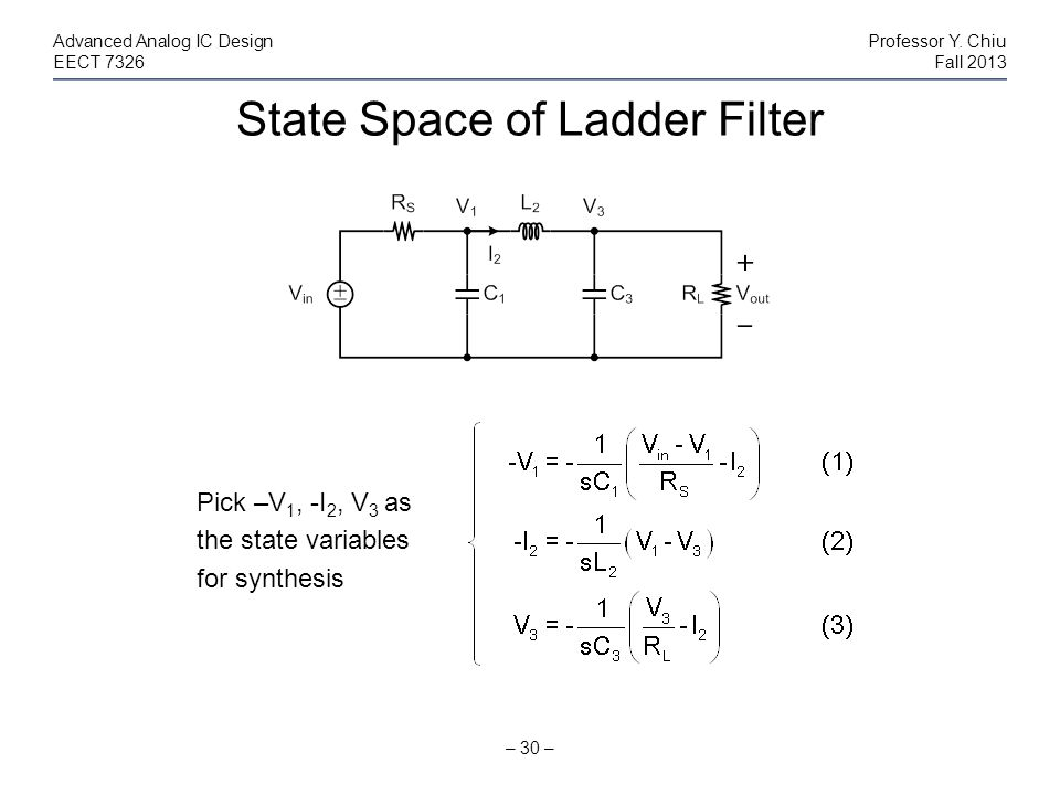 State Space of Ladder Filter – 30 – Advanced Analog IC DesignProfessor Y. Chiu EECT 7326Fall 2013 Pick –V 1, -I 2, V 3 as the state variables for synt