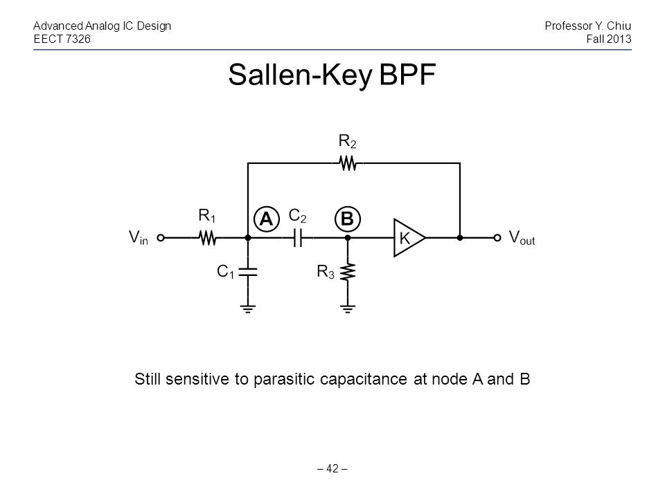Sallen-Key BPF – 42 – Advanced Analog IC DesignProfessor Y. Chiu EECT 7326Fall 2013 Still sensitive to parasitic capacitance at node A and B